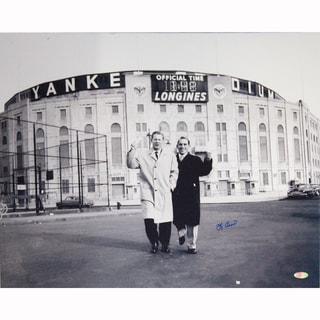Yogi Berra Signed B/W Standing Outside Original Yankee Stadium With Whitey Ford 16x20 Photo