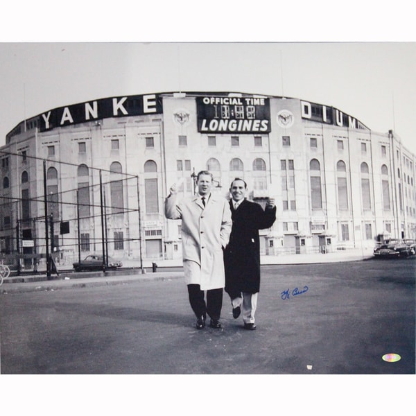 Yogi Berra Signed B/W Standing Outside Original Yankee Stadium With Whitey Ford 16x20 Photo