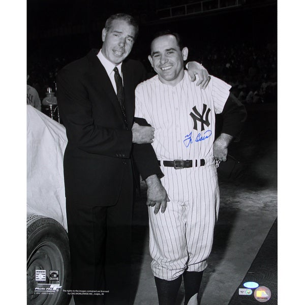 Yogi Berra Signed 16x20 Standing With Joe Dimaggio B/W Photo (MLB Auth)