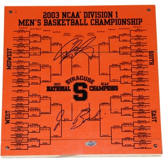 Jim Boeheim/Carmelo Anthony Dual Signed Syracuse Basketball Engraved 12x12 Bracket