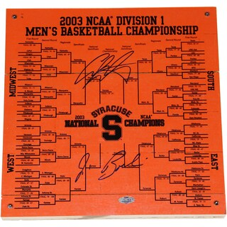 Jim Boeheim/Carmelo Anthony Dual Signed Syracuse Basketball Engraved 12x12 Bracket - Black