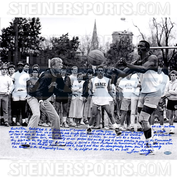 Lou Holtz Playing Basketball with Tim Brown Signed 16x20 Story Photo