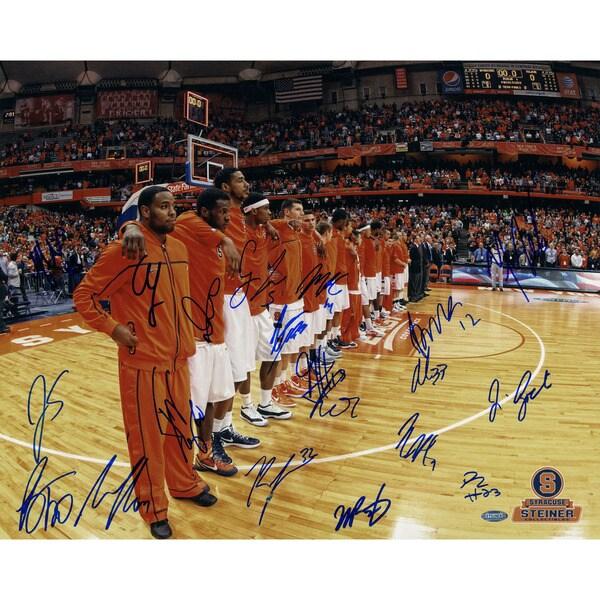 Syracuse Basketball 2011-2012 Season Orange Jerseys Huddle Before Game (Missing Trevor Cooney)