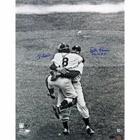 Yogi Berra/ Don Larsen Close-Up Hug Dual Signed 16x20 w/ PG insc (MLB Auth)