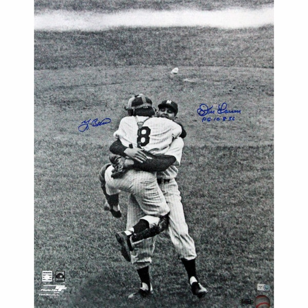 Yogi Berra/ Don Larsen Close-Up Hug Dual Signed 16x20 w/ PG insc (MLB Auth)