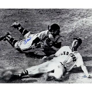 Yogi Berra Signed Tagging Ted Williams Metallic 16x20 Photo