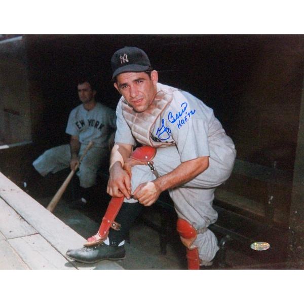 """Yogi Berra Putting On Shin Guard 11x14 Horizontal Photo w/ """"HOF 72"""" insc"""