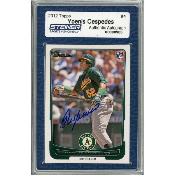 Yoenis Cespedes Signed 2012 Bowman Draft Rookie Card #4 (Slabbed by Steiner)