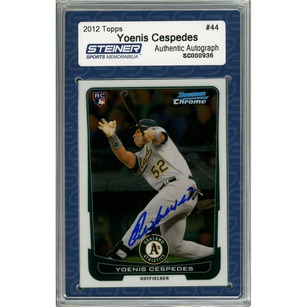 Yoenis Cespedes Signed 2012 Bowman Chrome Rookie Card #44 (Slabbed by Steiner) - Multi