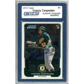 Yoenis Cespedes Signed 2012 Bowman Chrome Draft Rookie Card #4 (Slabbed by Steiner)