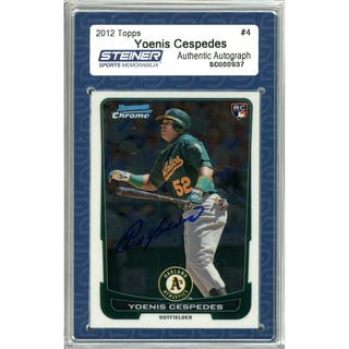 Yoenis Cespedes Signed 2012 Bowman Chrome Draft Rookie Card #4 (Slabbed by Steiner)|https://ak1.ostkcdn.com/images/products/11200417/P18190004.jpg?impolicy=medium