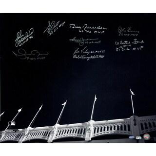 Yankees WS MVP's 9 Sig of Yankee Stadium Facades B&W 20x24 Photo (MLB Auth) (Sigs Ok, Photos Scratched- No Jeter)