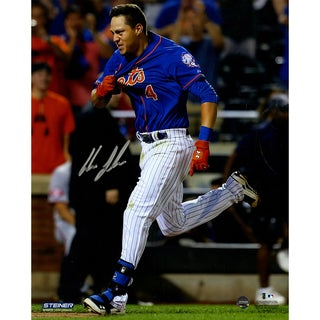 Wilmer Flores Signed Walk Off Home Run Celebration 8x10 Photo