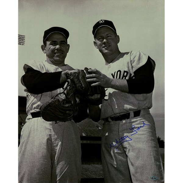 Whitey Ford Signed with Yogi Berra Holding Glove 16x20 Photo