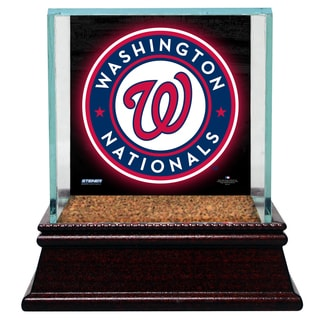 Washington Nationals Glass Single Baseball Case with Team Logo Background and Authentic Field Dirt Base (MLB Auth)