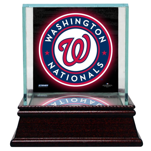Washington Nationals Glass Single Baseball Case with Team Logo Background