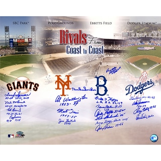 Dodgers-Giants Rivalry Multi-Signed 16x20 Photo (19 Signatures) Snider, Irvin, Podres, Zimmer