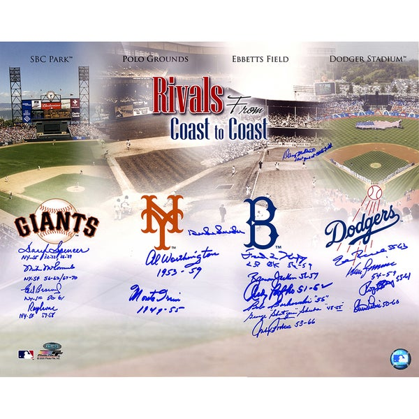 Dodgers-Giants Rivalry Multi-Signed 16x20 Photo (18 Signatures) Snider, Irvin, Podres, Zimmer