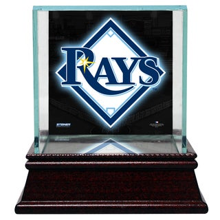 Tampa Bay Rays Glass Single Baseball Case with Team Logo Background