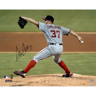 Stephen Strasburg Signed Horizontal Pitching w/ Grey Jersey 16x20 Photo (MLB Auth)