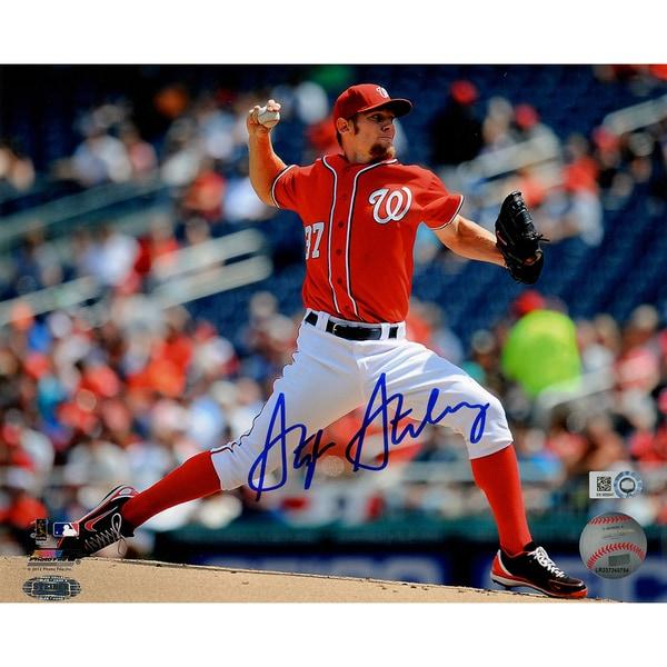 Stephen Strasburg Signed Horizontal Pitching 8x10 Photo (MLB Auth)