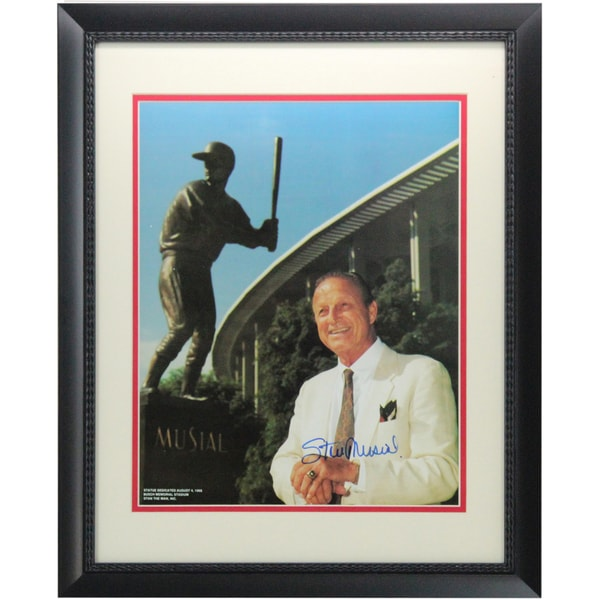 Stan Musial Signed Standing By Musial Statue Framed 11x14 Photo ( Stan The Man Holo Only)