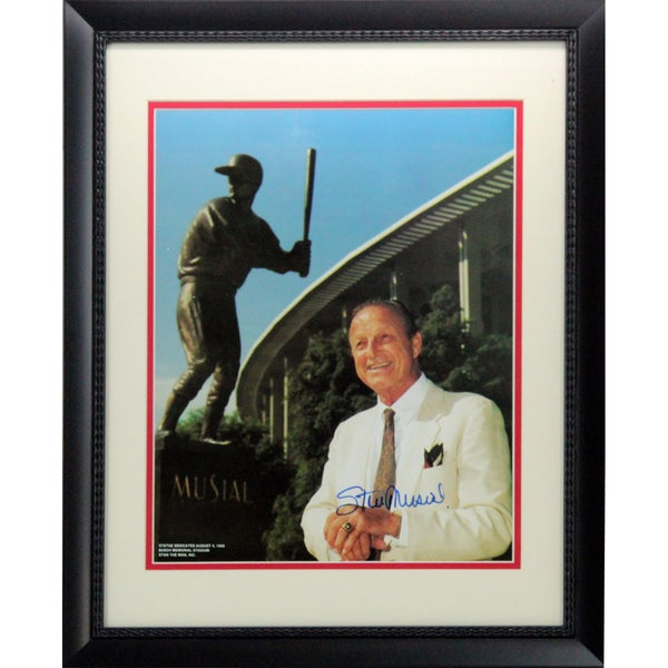 Stan Musial Signed Standing By Musial Statue Framed 11x14 Photo ( Stan The Man Auth)
