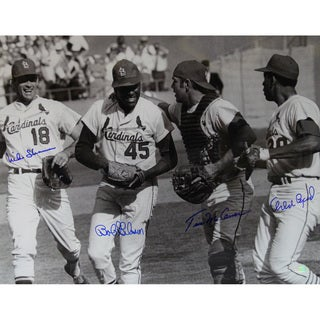 St. Louis Cardinals 16x20 Photo Signed (Bob Gibson, Tim McCarver, Mike Shannon, Orlando Cepeda)