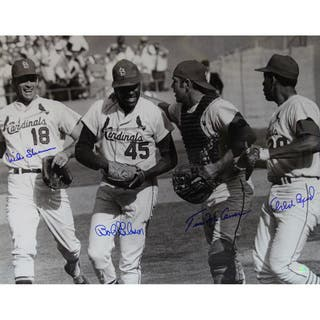 St. Louis Cardinals 16x20 Photo Signed (Bob Gibson, Tim McCarver, Mike Shannon, Orlando Cepeda)|https://ak1.ostkcdn.com/images/products/11200544/P18190166.jpg?impolicy=medium
