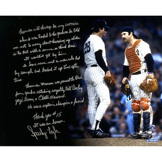 Sparky Lyle Signed 16x20 Story Photo On Thurman Munson