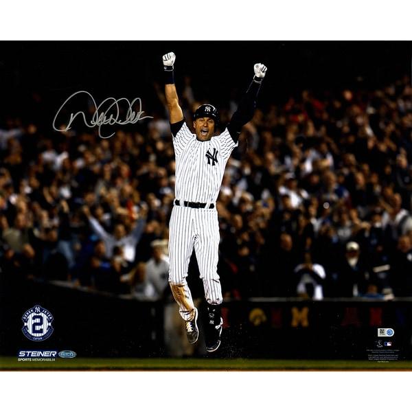 Derek Jeter Signed Celebration after Walk Off 16x20 Photo (MLB Auth)