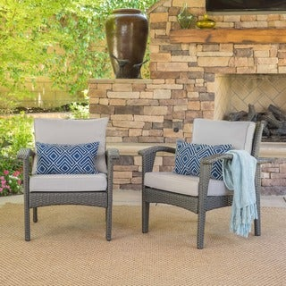 Link to Honolulu Outdoor Wicker Club Chair with Cushion (Set of 2) by Christopher Knight Home Similar Items in Patio Sets