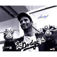 Sandy Koufax Signed Holding Up Baseballs 16x20 Photo (Online Auth)