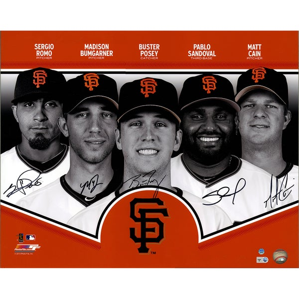 San Francisco Giants Signed 16x20 Collage (Signed by Posey, Sandoval, Cain, Romo and Bumgarner)