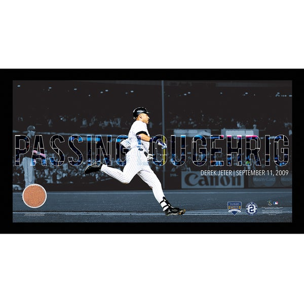 Derek Jeter Moments: Passing Gehrig Collage Text Overlay w/ Game Used Dirt Framed 9.5x19 7331 Style