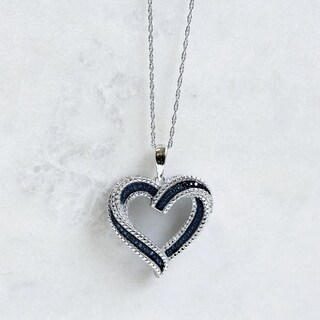 Annello by Kobelli 10k White Gold Blue Diamond Accent Heart Pendant
