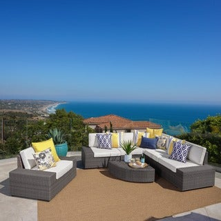 Santa Cruz Outdoor 7-piece Wicker Sofa Set with Cushions by Christopher Knight Home