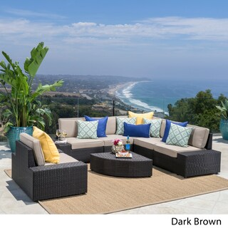 Santa Cruz Outdoor 7-piece Wicker Sofa Set with Cushions by Christopher Knight Home (3 options available)