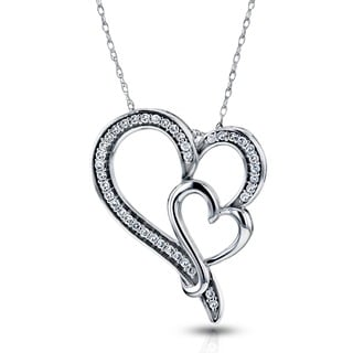 Annello by Kobelli 10k White Gold 1/5ct TDW Diamond Double Heart Pendant (H-I, I2)