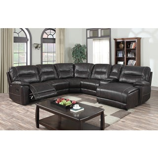 Baxton Studio Matthias Modern and Contemporary Dark Brown Bonded Leather 6-Piece Sectional with Recliners Corner Lounge Suite