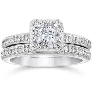 14k White Gold 1 1/4 ct TDW Princess Cut Diamond Halo Engagement Wedding Ring Set