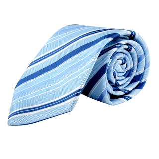 Zodaca Men's Light Blue and Blue Polyester Stripped Men Classic Formal Necktie