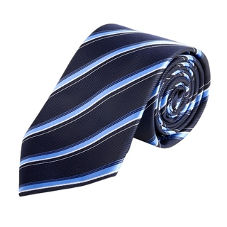 Zodaca Men's Dark Blue and Light Blue Polyester Stripped Men Formal Classic Necktie