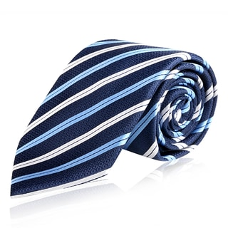 Zodaca Men's Dark Blue and Black Polyester Stripped Men Formal Classic Necktie