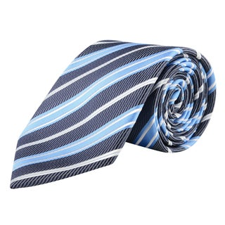 Zodaca Men's Blue and White Polyester Double Stripped Men Formal Classic Necktie