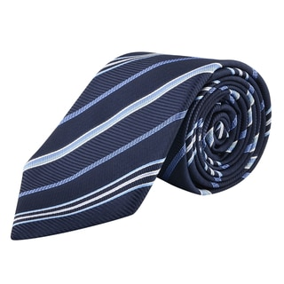 Zodaca Men's Navy Blue and White Polyester Stripped Men Formal Classic Necktie