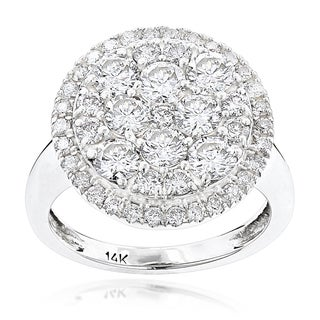 Luxurman 14k White Gold 2 4/5ct TDW Diamond Cluster Engagement Ring