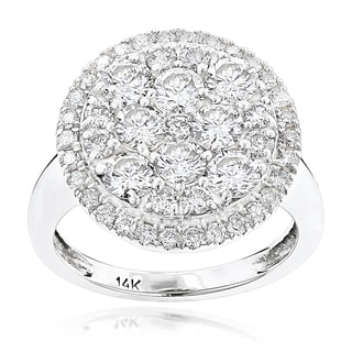 Luxurman 14k White Gold 2 4/5ct TDW Diamond Cluster Engagement Ring (G-H, VS1-VS2)