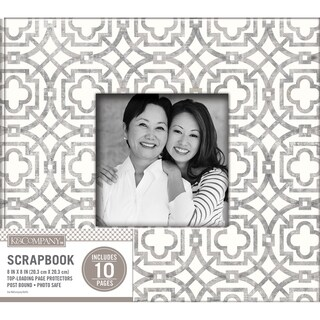 K&Company Patterned Post Bound Window Album 8inX8in Gray Geo