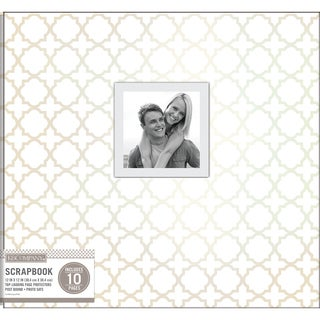 K&Company Patterned Post Bound Window Album 12inX12in White Pearl Quatrefoil